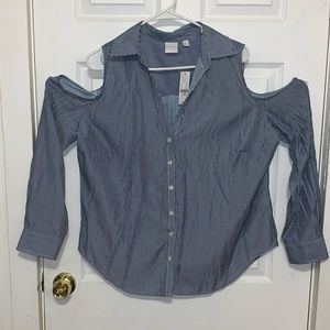 New York & Co. cold shoulder button down shirt